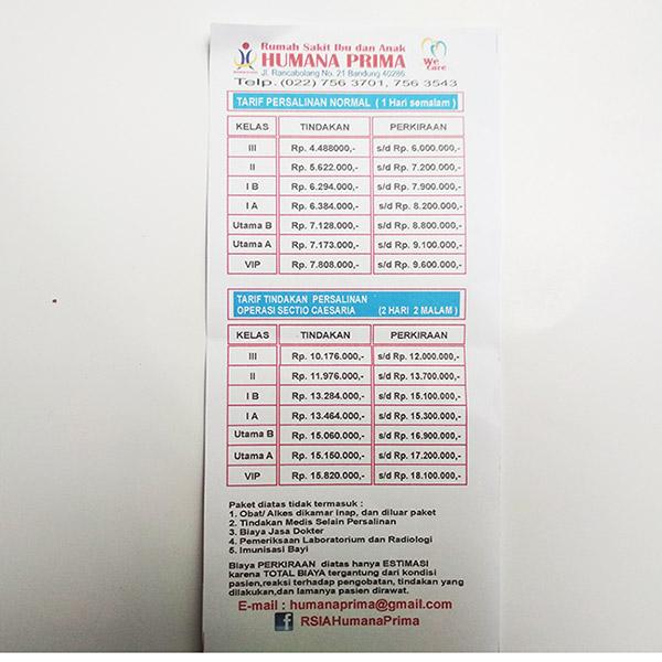 Biaya persalinan 2018 di Bandung